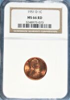 1951-D LINCOLN CENT NGC MINT STATE 66 RED GA8-73
