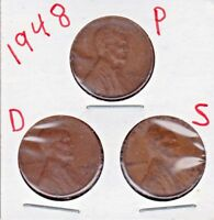 1948 P,D,AND S LINCOLN CENTS IN AVERAGE CIRCULATED CONDITION 3 COINS