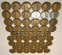 52 LINCOLN WHEAT CENTS: 1940-1954 PDS, 1955-1958 PD; INCL 1943 STEEL; NO 1949 S