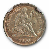1868 S SEATED HALF DIME NGC AU 55 ABOUT UNCIRCULATED BETTER DATE