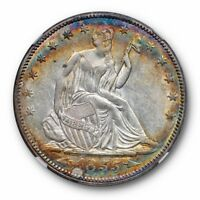 1855 ARROWS SEATED LIBERTY HALF DOLLAR 50C NGC AU 58 RAINBOW TONED BEAUTY
