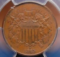 1865 TWO CENT PIECE PCGS MINT STATE 62 BRN  MINT FROST NO DISTRACTIONS  FOR TYPE