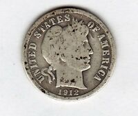 1912 D BARBER DIME IN GOOD  CONDITION STK D5