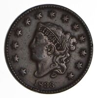 1833 MATRON HEAD LARGE CENT - CIRCULATED 9020