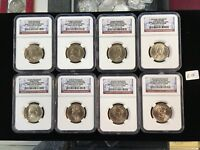 14 DIFFERENT 2007, 08 09 10 PRESIDENTIAL DOLLARS NGC BU FIRST DAY OF ISSUE   E10