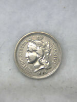 1881 THREE CENT NICKEL AU  BRIGHT WITH   LUSTER 516F