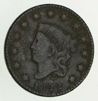 1822 MATRON HEAD LARGE CENT - CIRCULATED 9419