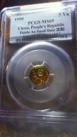 1990 CHINA 1/20OZ PCGS MINT STATE 69 CHINESE GOLD PANDA