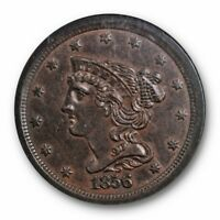 1856 1/2C BRAIDED HAIR HALF CENT NGC AU 58 ABOUT UNCIRCULATED ORIGINAL BETTER