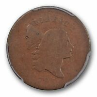 1795 1/2C LIBERTY CAP HALF CENT PLAIN EDGE, NO POLE C-6A PCGS G 4 GOOD ORIGINAL