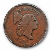 1795 1/2C LIBERTY CAP HALF CENT PLAIN EDGE, NO POLE C-6A P PCGS VF 30 STRUCK