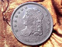1835 CAPPED BUST HALF DIME.  AU AND GREAT DETAILS.
