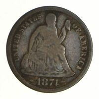 1874 SEATED LIBERTY SILVER DIME - ARROWS - CIRCULATED 6966