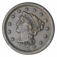 1854 BRAIDED HAIR LARGE CENT - CIRCULATED 0224