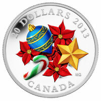 2013 CANADA $20 SILVER COIN WITH VENETIAN MURANO GLASS HOLIDAY CANDY CANE