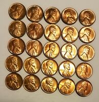 1936 P 25 COINS BU RED UNCIRCULATED LINCOLN WHEAT CENT MINI