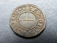 MEDIEVAL CRUSADER CROSS COIN ANTIQUE 1300 1400 AD SILVER KNI