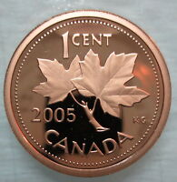 2005 CANADA 1 CENT HEAVY CAMEO PROOF PENNY COIN