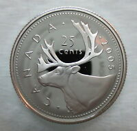 2005 CANADA 25 CENTS PROOF SILVER QUARTER HEAVY CAMEO COIN