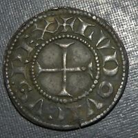 MEDIEVAL CRUSADER CROSS COIN ANTIQUE 1200 1375 AD SILVER KNI