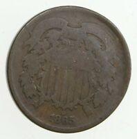 TWO CENT   1865 US 2 CENT PIECE   FIRST COIN WITH IN GOD W