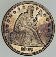 1865 SEATED LIBERTY SILVER DOLLAR - NEAR UNCIRCULATED 4856