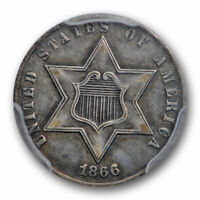 1866 3CS THREE CENT SILVER PCGS EXTRA FINE  45 EXTRA FINE TO AU KEY DATE CAC APPROVED