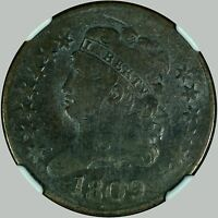 1809 1/2C C-4, R.3 CIRCLE IN 0 BN CLASSIC HEAD HALF CENT -, NGC F DETAILS-