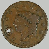 1837 1C N-? CORONET HEAD CENT, SEE DESCRIPTION, HOLED