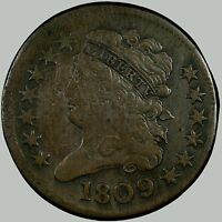 1809/6 1/2C 9 OVER INVERTED 9 BN CLASSIC HEAD HALF CENT - PLEASING-