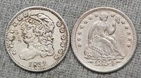 LOT OF 2 HALF DIMES    1831 CAPPED BUST & 1854 SEATED LIBERT
