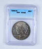 AU58 1934-S PEACE SILVER DOLLAR - GRADED BY ICG 9667