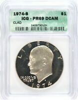 1974-S EISENHOWER SILVER DOLLAR ICG PROOF-69 DEEP CAMEO  BW8-104