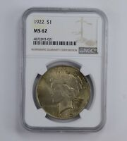 MINT STATE 62 1922 PEACE SILVER DOLLAR - BEAUTIFUL TONED - GRADED NGC 0914