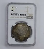 MINT STATE 63 1924 PEACE SILVER DOLLAR - BEAUTIFUL TONED - GRADED NGC 0912