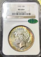 1923 SILVER PEACE DOLLAR NGC MINT STATE 64 CAC STAR  MONSTER DOUBLE SIDED TONING
