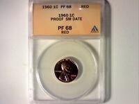 ANACS PR68 1960 SM DATE PROOF LINCOLN MEMORIAL CENT 571 HAZY