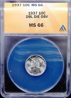 1937 MERCURY DIME ANACS MINT STATE 66 DOUBLED DIE OBVERSE DESIGNATED BUT NO ATTRIBUTION
