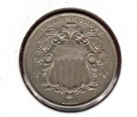 1866 SHIELD NICKELGRADES EXTRA FINE  BUT CLEANED  LOOKER THO BUY IT NOW  C217
