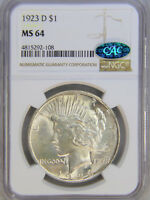 1923-D PEACE DOLLAR NGC MINT STATE 64 CAC FULL WHITE SUPERB LUSTER ALMOST MINT STATE 65, PQ 71E