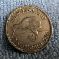1964 NZ FLORIN AVERAGE CIRCULATED CONDITION & HIGHLY COLLECT