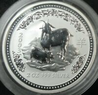 2003 AUSTRALIA YEAR OF THE GOAT 2 OUNCE .999 FINE SILVER TWO