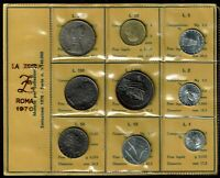 ITALY 9 COIN UNCIRCULATED MINT SET 1970 GEM WITH SILVER 500