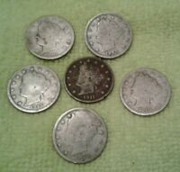 US COINS LOT OF 6 SHIELD NICKEL 1890 - 01 - 08-10 -11-12 LIBERTY HEAD V NICKELS