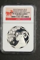 CANADA 2015 SILVER $15 YEAR OF THE SHEEP SCALLOP SHAPED NGC PROOF 70 UC PF70 1