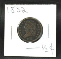1832 HALF CENT 1/2COPPERVF-EXTRA FINE NO CLEANING  CIRCULATED PATINA