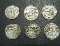 LATE MEDIEVAL 6 COINS LOT SILVER 1550 1630AD CROSS K B MARY