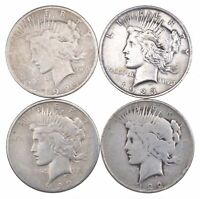 4 COINS US PEACE SILVER DOLLAR COLLECTION $1.00 1922 1935 LO