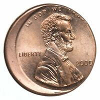2000 MINT ERROR   CH BU OFF CENTER LINCOLN MEMORIAL CENTS  3