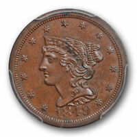 1849 1/2C BRAIDED HAIR HALF CENT PCGS MINT STATE 65 BN UNCIRCULATED TOP POP